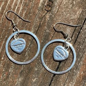 Tiffany & Co Silver stamped Heart Dangle Earrings